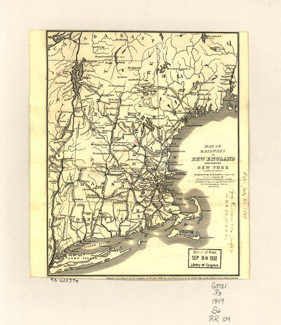 Map of railways in New England and part of New York; engraved by E. A. Teulon, expressly to accompany the Pathfinder Railway Guide.