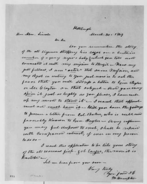 Moses Hampton to Abraham Lincoln, Friday, March 30, 1849  (Appointment)