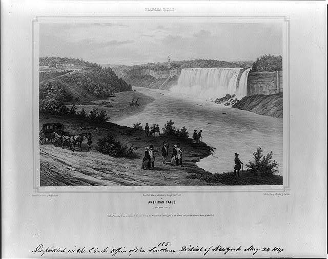 Niagara Falls. American falls (from table rock) / drawn from nature by Aug. Köllner ; lith. by Deroy ; printed by Cattier.