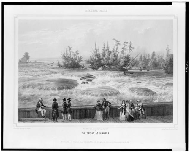 Niagara Falls. The rapids at Niagara / drawn from nature by Aug. Köllner ; lith. by Deroy ; printed by Cattier.
