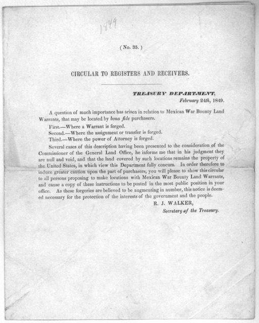 (No. 35) Circular to registers and receivers. Treasury department. [Washington D. C,] February 24th, 1849.