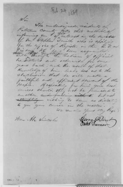 Oaks Turner and George Dent to Abraham Lincoln, Saturday, February 24, 1849  (Dixon Land Office)