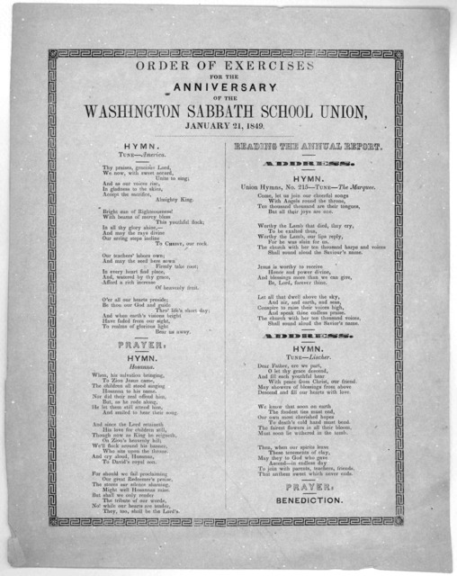 Order of exercises for the anniversary of the Washington sabbath school union, January 21, 1849.
