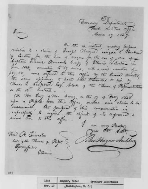 Peter Hagner to Abraham Lincoln, Monday, March 19, 1849  (Mexican War Claim)