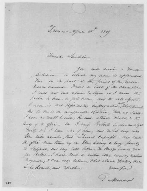 Peter Menard to Abraham Lincoln, Sunday, April 15, 1849  (Appointment)