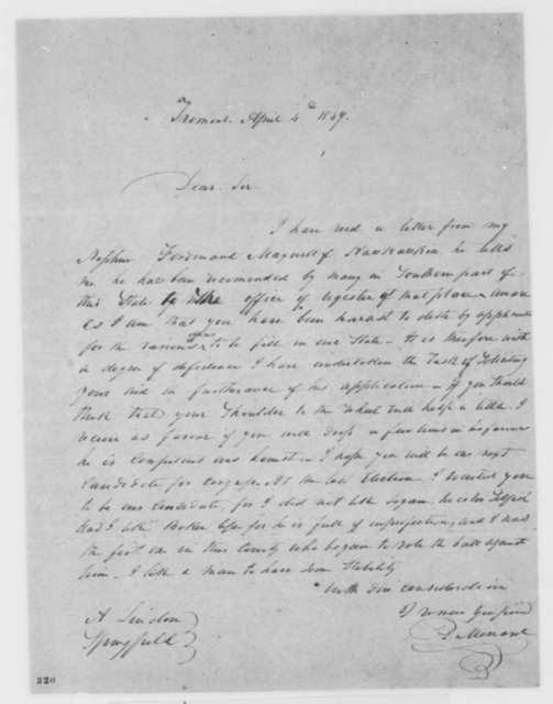 Peter Menard to Abraham Lincoln, Wednesday, April 04, 1849  (Appointment)
