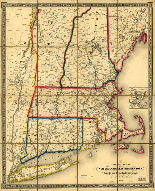 Railroad map of New England & eastern New York complied from the most authentic sources.