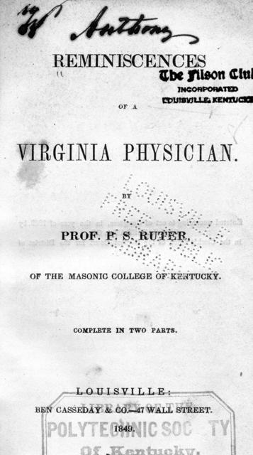 Reminiscences of a Virginia physician