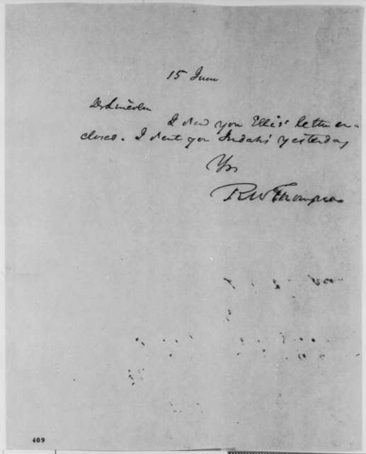 Richard W. Thompson to Abraham Lincoln, Friday, June 15, 1849  (Cover letter)
