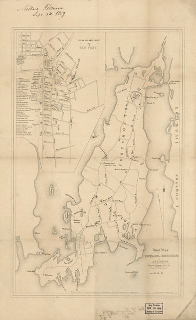 Road map of the island of Rhode Island or Aquidneck /