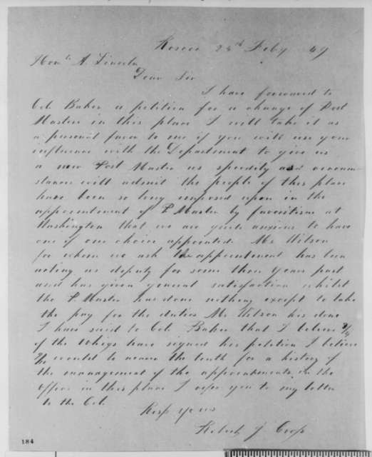 Robert J. Cross to Abraham Lincoln, Sunday, February 25, 1849  (Appointment)