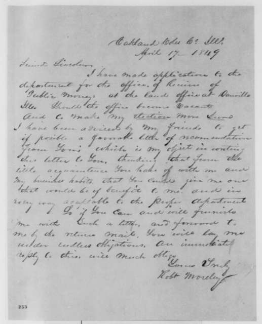 Robert Moseley to Abraham Lincoln, Tuesday, April 17, 1849  (Appointment)