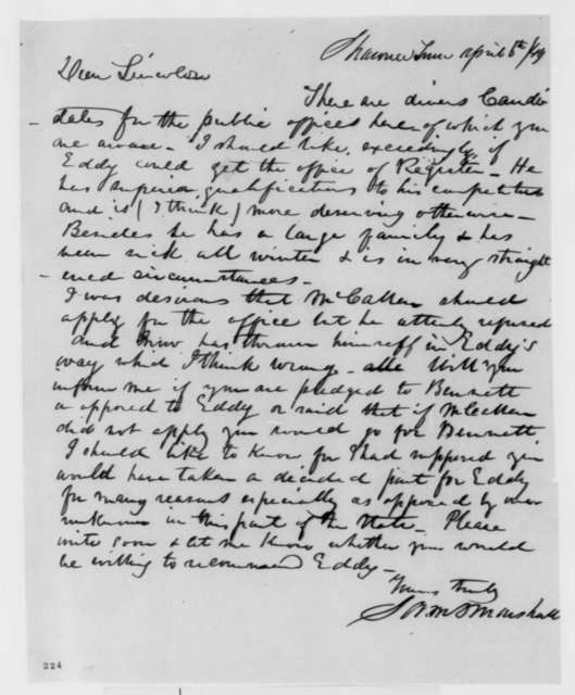 Samuel D. Marshall to Abraham Lincoln, Friday, April 06, 1849  (Appointment)