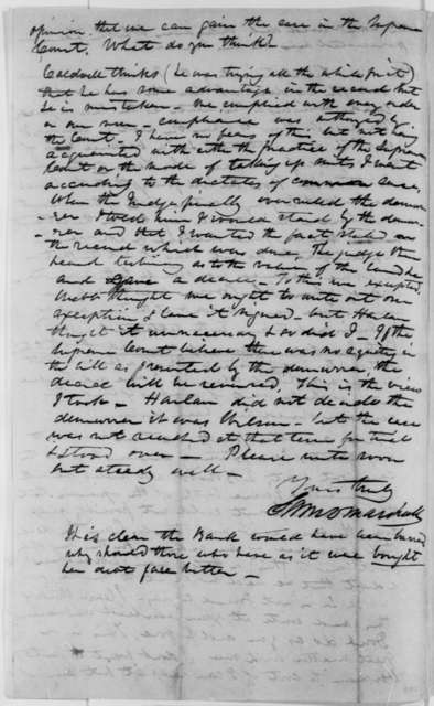 Samuel D. Marshall to Abraham Lincoln, Friday, April 20, 1849  (Law Case)