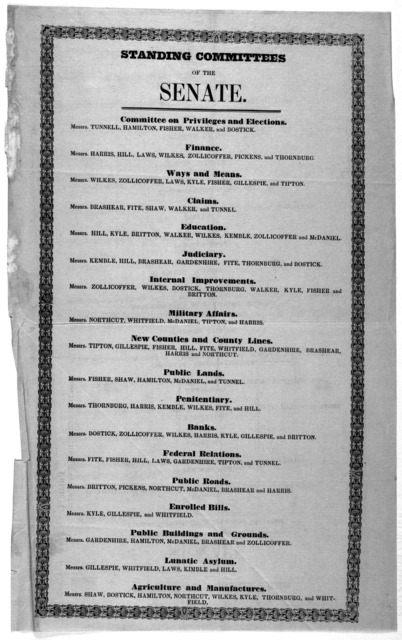 Standing committees of the Senate. [1849?].