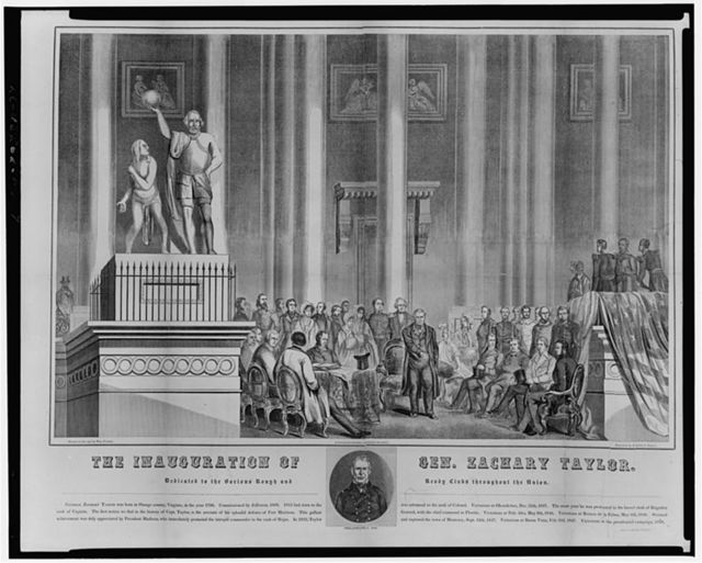 The inauguration of Gen. Zachary Taylor--Dedicated to the Various Rough and Ready Clubs throughout the Union / Drawn on the spot by Wm. Croome ; Engraved by Brightly & Keyser.