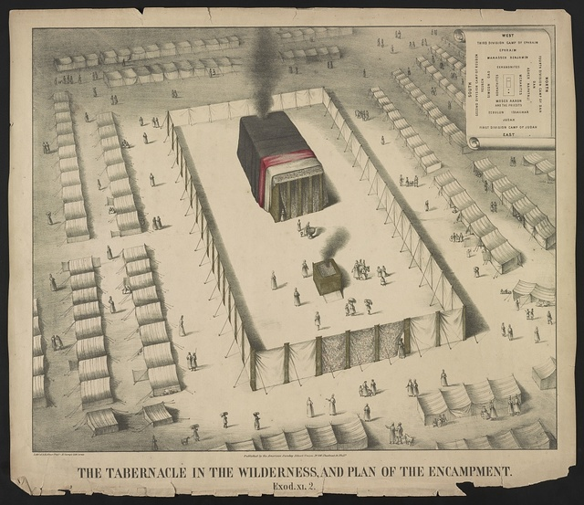 The tabernacle in the wilderness, and plan of the encampment. Exod. XI. 2 / lith'y. of A. Kollner Phila ; H. Camp's lith'c. press.
