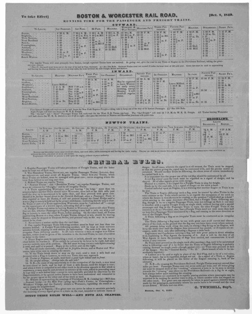 [Time table and general rules] To take effect October 8, 1849. Boston, October 4, 1849.
