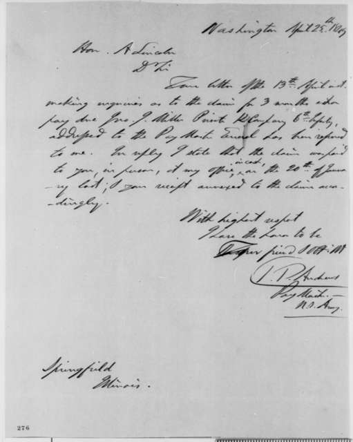 Timothy P. Andrews to Abraham Lincoln, Wednesday, April 25, 1849  (Claim)
