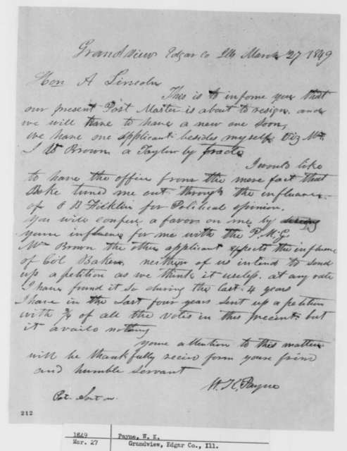 W. K. Payne to Abraham Lincoln, Tuesday, March 27, 1849  (Appointment)