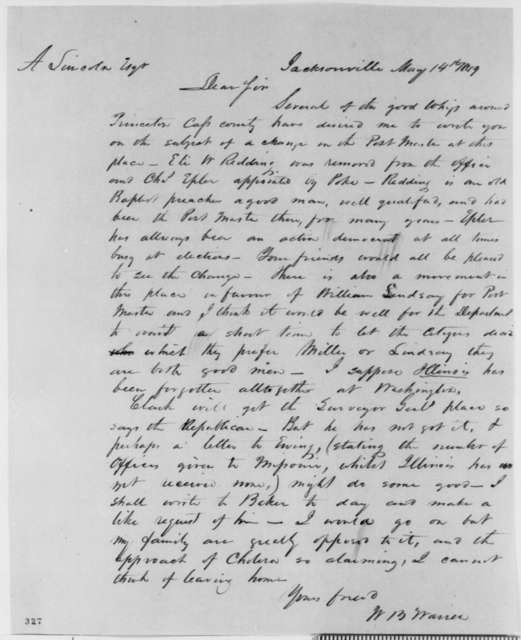 William B. Warren to Abraham Lincoln, Monday, May 14, 1849  (Appointment)