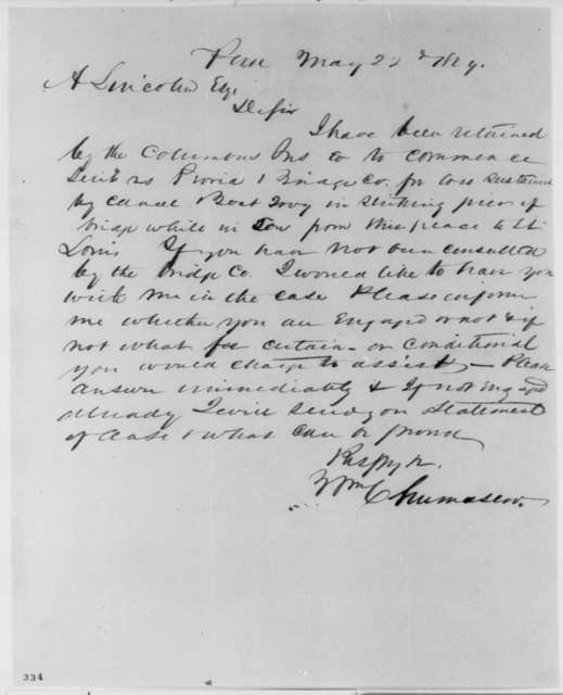William Chumasero to Abraham Lincoln, Tuesday, May 22, 1849  (Law business)