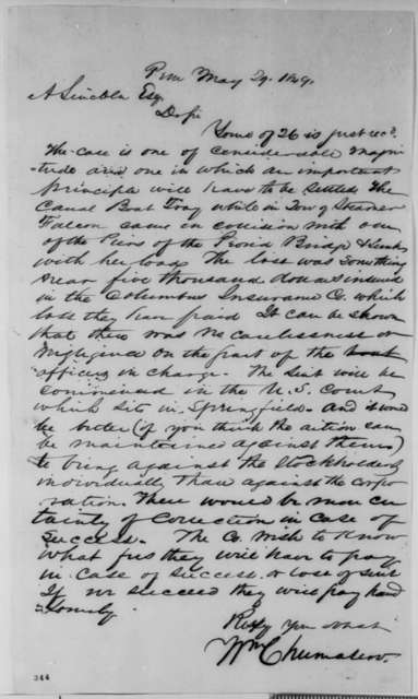 William Chumasero to Abraham Lincoln, Tuesday, May 29, 1849  (Law business)