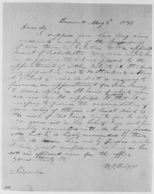 William D. Briggs to Abraham Lincoln, Wednesday, May 02, 1849  (Appointment)