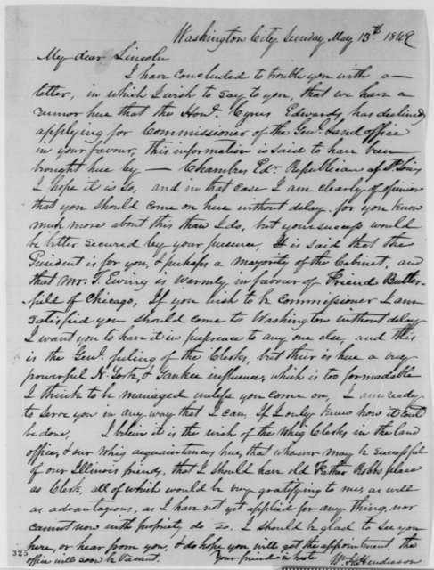 William H. Henderson to Abraham Lincoln, Sunday, May 13, 1849  (Abraham Lincoln in Land Office)