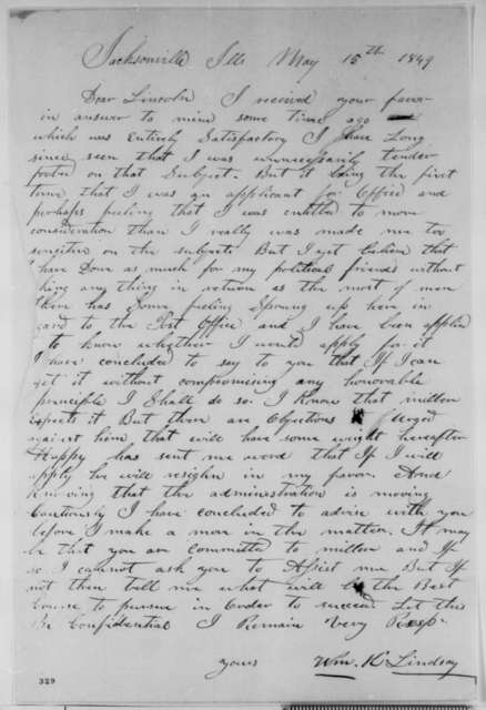 William K. Lindsay to Abraham Lincoln, Tuesday, May 15, 1849  (Appointment)