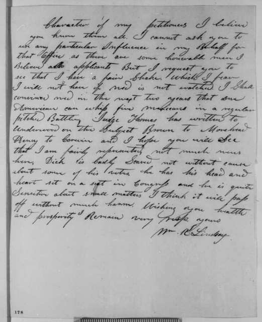 William K. Lindsay to Abraham Lincoln, Wednesday, February 21, 1849  (Appointment)