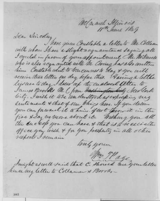 William T. Page to Abraham Lincoln, Monday, June 11, 1849  (Abraham Lincoln in Land Office)