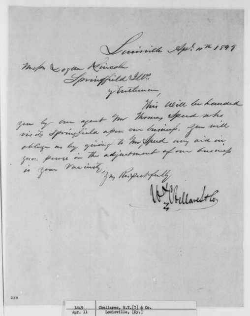 W.T. Chellares & Co to Stephen T. Logan and Abraham Lincoln, Wednesday, April 11, 1849  (Legal Business; Introduction for Appointment)