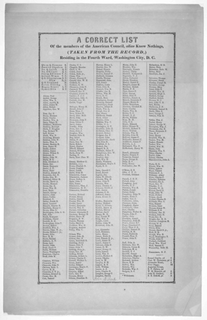 A correct list of the members of the American council, alias Know nothings (Taken from the record,) residing in the fourth ward, Washington, City, D. C. [Washington, D. C. 185-].