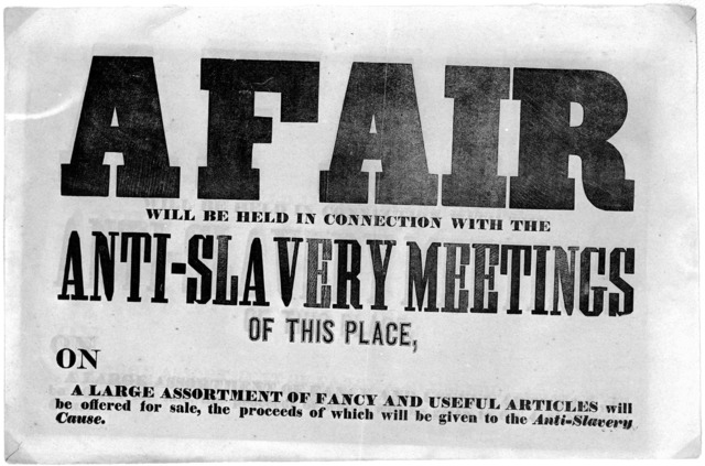 A fair will be held in connection with the anti-slavery meetings of this place, on A large assortment of fancy and useful articles will be offered for sale, the proceeds of which will be given to the anti-slavery cause. [185-?].
