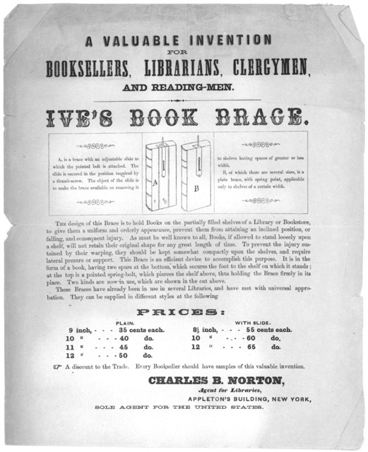 A valuable invention for booksellers, librarians, clergymen and reading-men. Ive's book brace ... [New York 185-M].
