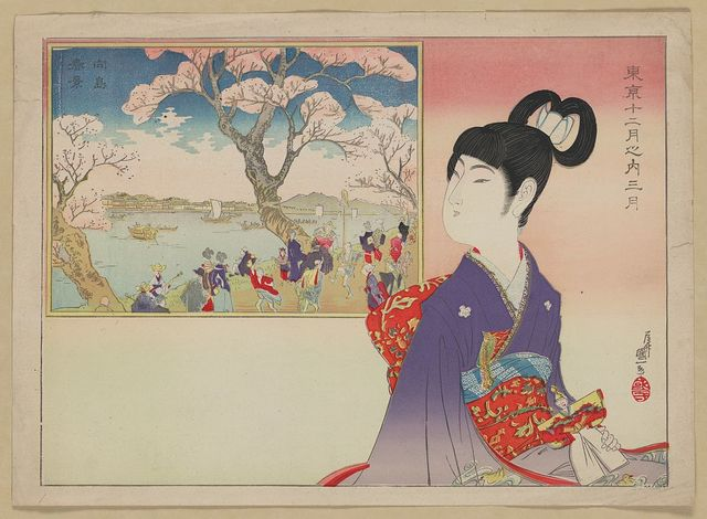 [A young girl holding a doll remembers the revelry during a festival beneath blossoming cherry trees on the banks of a river]