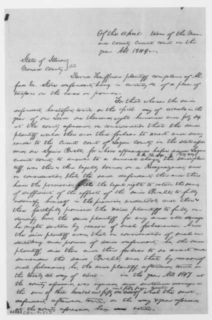 [Abraham Lincoln and William H. Herndon], Friday, March 22, 1850  (Declaration in case of David Hoffman vs. Alfred U. Stone; signed by Stephen T. Logan, March 21, 1850)