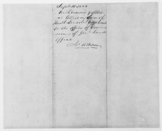 Abraham Lincoln to John Addison, Monday, September 09, 1850  (Requests return of letters of recommendation; endorsed by Addison)