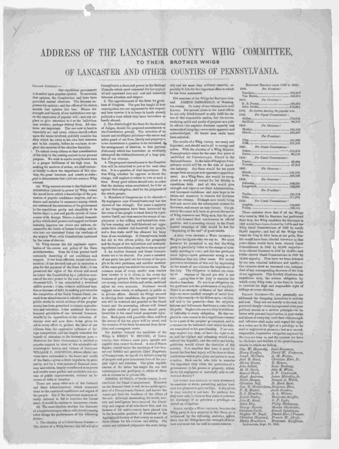 Address of the Lancaster County Whig Committee to their brother Whigs of Lancaster and other counties of Pennsylvania ... Lancaster, Sept. 13, 1850.