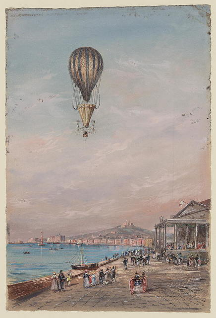 [Balloon with parachute and propellers, associated with Francesco Orlandi, flying over a town harbor and spectators, possibly during an ascent in Italy between 1820 and 1850]