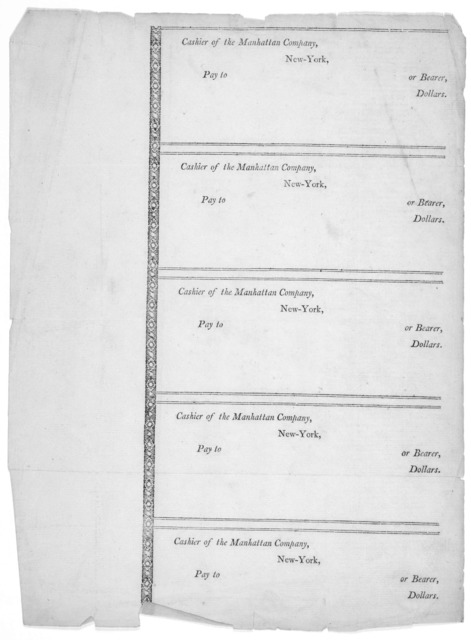 [Blank check of the Manhattan company, New York. 185-?].