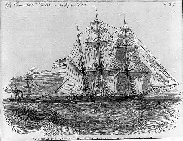 Capture of the ANN D. RICHARDSON slaver [flying U.S. flag] by H.M. Steam-frigate PLUTO