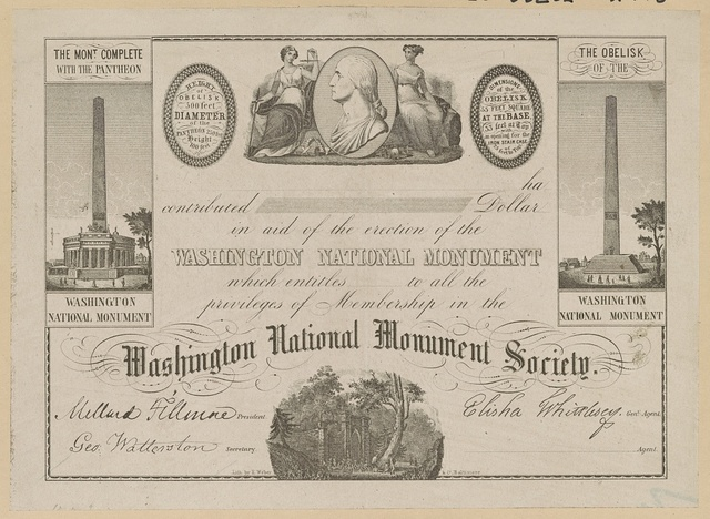[Certificate of membership for the Washington National Monument Society] / Lith. by E. Weber & Co.