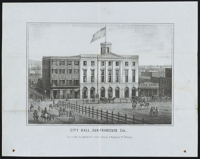 City hall, San-Francisco, Cal. / Lith. & publ. by Quirot & Co., corner California and Montgomery Sts., S. Francisco.