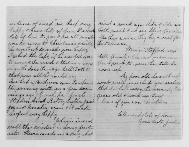 Clara Barton Papers: Family Papers: Barton, David and Julia Porter (brother), 1850-1883