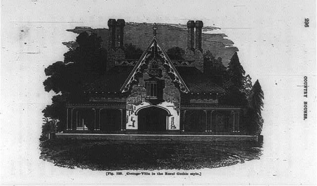 [Cottage-villa in the rural Gothic style, residence of William J. Rotch of New Bedford, Mass., built from the plans of Mr. Davis: front elevation]