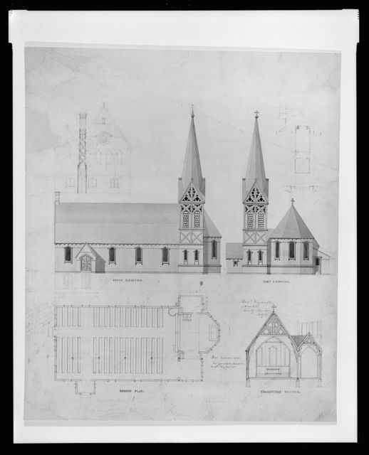 [Design for an unidentified wooden church] / Richd. Upjohn & Co., architects, Trinity Building, N. York.