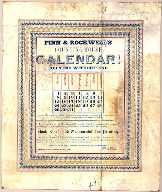Finn & Rockwell's counting-house calendar! for time without end. Auburn. N. Y. c. 1850.