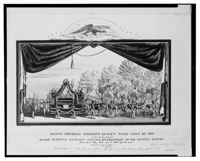 Grand funeral pageant at New York July 23, 1850, in honor of the memory of Major General Zachary Taylor 12th president of the United States / lith. and pub. by Geo. E. Leefe, 111 Nassau St., N.Y.